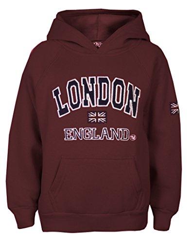 Damen-Kapuzenpullover, Motiv: London, England und Union Jack, hochwertig Gr. 38, burgunderfarben