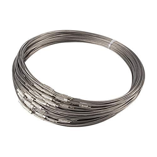 NBEADS 100mechones de Platino Collar de Alambre de Acero Cable con Tornillo de latón Cierre Niza para DIY Jewelry Making, 17,5'; 1mm; Cierre: 12x 4mm