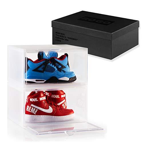 BOGO Set of 2 Clear Plastic Shoe Box Sneaker Crates Storage Container Side Drop Door