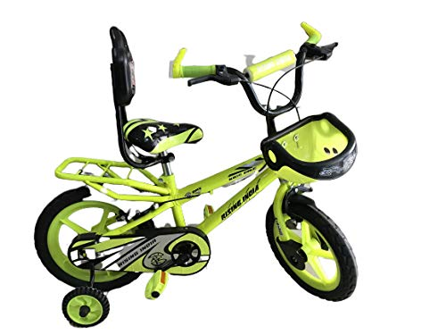 """Rising India 14"""" Sports Kids Bicycle for 3-5 Years with Full Chain Cover and Bottle Semi Assembled (Neon Green with Carrier)"""