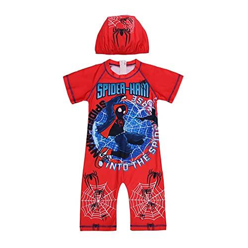 MYYLY Cosplay Garçon Superhero Maillot Bain Spiderman avec Chapeau Rash Guard Plein Air Combinaison Vacances 2 Pièces Short Trunks Pièce Dessin Animé Costume Natation,Red-M Kids (115~125CM)