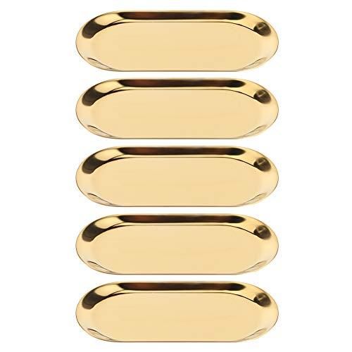 Longzhou Plateau à Bijoux, 5 pièces en Acier Inoxydable en Forme Ovale Porte-Serviettes cosmétiques Plateau de Rangement de Bijoux Plat Assiette Organisateur(Gold)