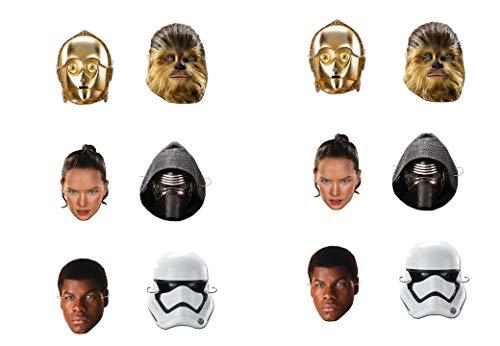 ALMACENESADAN 0549, Pack 12 caretas Disney Star Wars, Multicolor para Fiestas y cumpleaños