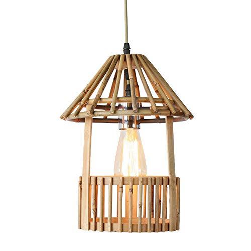 KAIKEA Canasta Colgante de Arte de bambú de Madera Maciza Creativa en Forma de Rama Característica Candelabro Colgante Dormitorio Estudio Iluminación Familia LED Lámpara Tejida de bambú Retro