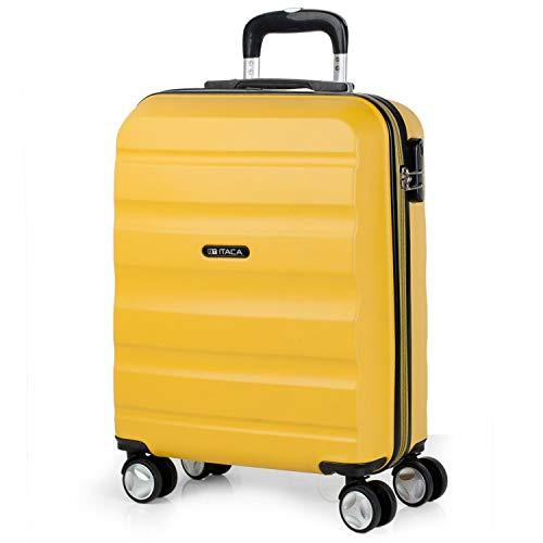 ITACA - Maleta de Viaje 55x40x20 cm Cabina Avion Trolley ABS Lisa. Equipaje de Mano. Pequeña Rígida Práctica y Ligera. 4 Ruedas y Candado. Calidad y Diseño. Viajes Cortos, T71650, Color Mostaza