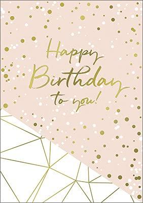 Hartung DIN A4 Grußkarte zum Geburtstag, Geburtstagskarte Happy Birthday mit Goldveredelung, Klappkarte im weißen Umschlag