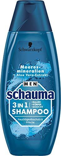 Schauma Men Shampoo 3in1 Feuchtigkeitsschutz & Frische Meeresmineralien + Aloe Vera-Extrakt , 400 ml