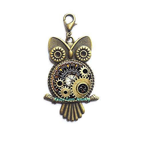 Steampunk Compass Photo Cogs Steampunk Jewelry Steampunk Owl Zipper Pull Steampunk Gears Mechanical Cogs,Q0160