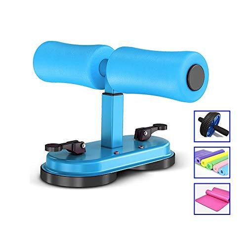 WOF Sit Up Bar - Doppelsauger Tragbare einstellbare Fitness-Bauchausrüstung Einstellung Einfache Sit-Ups-Hilfsmittel mit Spannband, Yogamatte und Bauchrad (Color : Blue+)