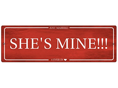 Interluxe Kunststoffschild SHE is Mine Autoschild Hochzeit Just Married Autodeko Dekoschild