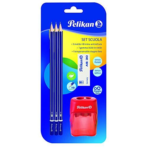 Pelikan 24005814 Set met 3 grafietstiften 2B + 1 gum AL30 + 1 dubbele puntenslijper - schoolset - FSC-gecertificeerd hout zeskant stiften breukvast