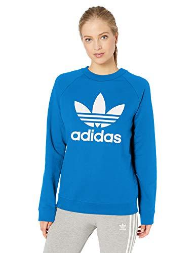 adidas Originals Damen Trefoil Crewneck Sweatshirt Pullover, Blauer Vogel, Groß