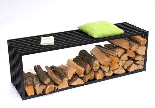 Panca Porta Legna da Camino D-Stil 150 cm Scaffale da Camino Cesto Legno Porta Legna da Camino