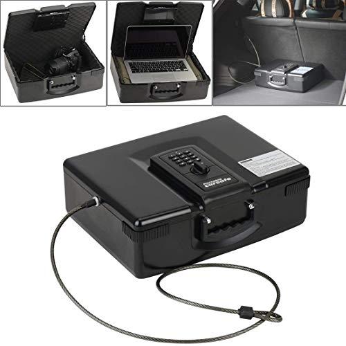 LILICEN Caja de Almacenamiento de/ADB-928 de múltiples Funciones Portable Placa de Seguridad electrónica de Almacenamiento de Acero Palabras + rotación del botón Caja con Llave de Emergencia,