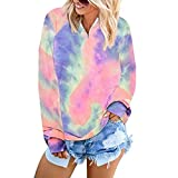 SUPRIQLO Tie Dye Sweatshirt Ladies Chic Print Long Sleeve Lapel Pullover Tops (Blue Pink, Medium)