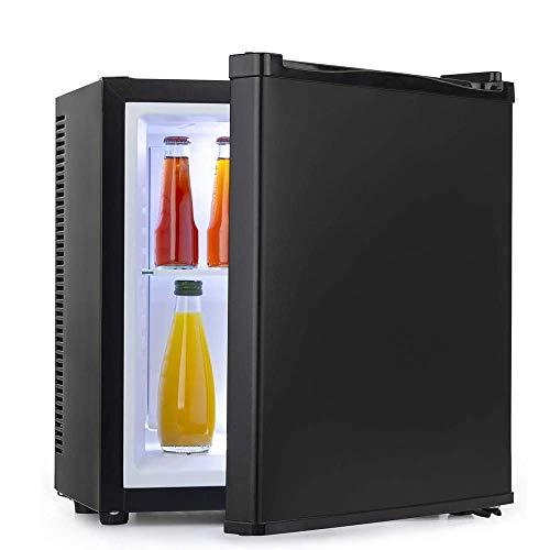 Enfriador de bebidas / Refrigerato de vino pequeño, Mini refrigerador Congelador compacto, Congelado + Refrigerado, Iluminación LED, Puerta de vidrio Marco negro - Sala de estar, Minibar, Bodega eléc