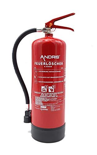 Qualitäts-Feuerlöscher 6L Schaum AB mit Manometer, EN 3, Wandhalterung und ANDRIS® Prüfnachweis & ISO-Symbolschild Folie