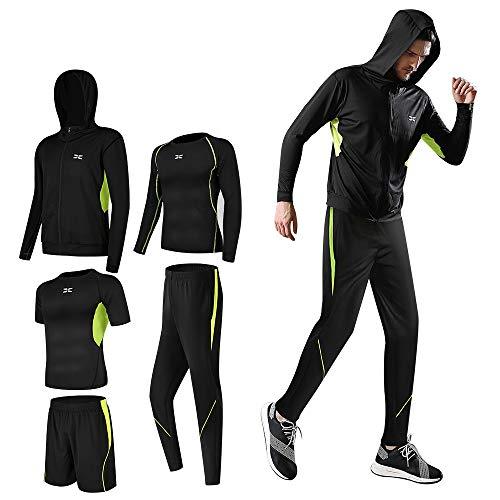 Lachi Herren-Fitnessbekleidung Laufset Shorts Workout 5-teiliges Set