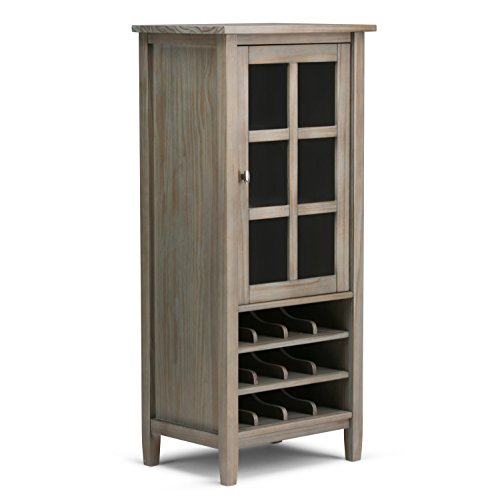 SIMPLIHOME Warm Shaker 12-Bottle SOLID WOOD 23 inch Wide Rustic High Storage Wine Rack in Distressed Grey with 1 Storage Compartment, for the Dining Room and Kitchen, Rustic