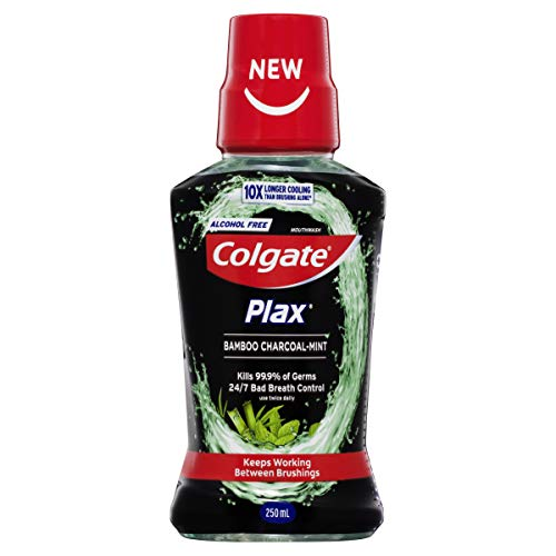 Colgate Plax Antibacterial Alcohol Free Bad Breath Control Mouthwash Bamboo Charcoal Mint 250mL