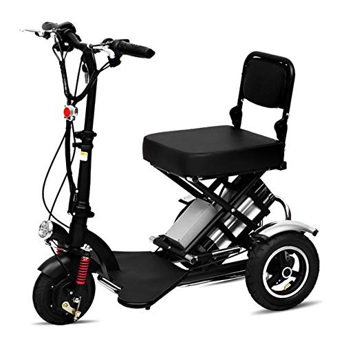 Silla de Ruedas eléctrica Ancianos discapacitados Mini Plegable Triciclo eléctrico Scooter casero 360 ° Giratorio Velocidad Fija Crucero Batería de Litio con Luces,48V12AH/60KM