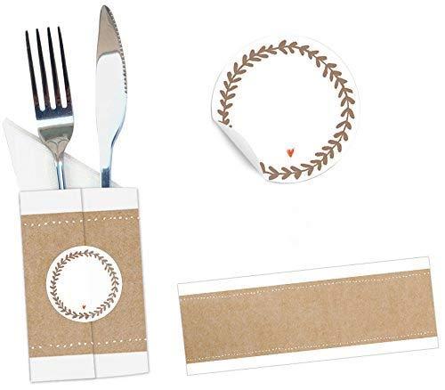 24 Bestecktaschen - Set mit Banderole und Sticker zum selber Falten, für Hochzeit, Konfirmation, Kommunion, Taufe, Vintage Design, Recyclingpapier, beige weiß, CO2-neutral hergestellt