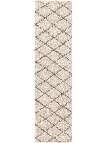 Benuta Alfombra de Pelo Largo Soho Shaggy de Pelo Largo para salón, mullida, Moderna, Lavable, Color Crema, 80 x 300 cm