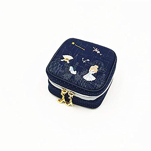 Caja de joyería Bolso Mini Caja de la joyería Cuadrada Pendientes del Clavo del Anillo de Almacenamiento portátil Collar de la joyería de Cenicienta Bordado Cuadro de Viajes Joyero