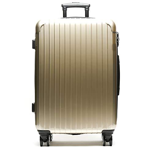 MISAKO Maleta Grande de Viaje Oro Roma Unisex | Maleta Rígida Elegante | 78x54x28cm - 73L - 3,5KG | Maleta con Cierre de Seguridad 4 Ruedas Giratorias | Resistente
