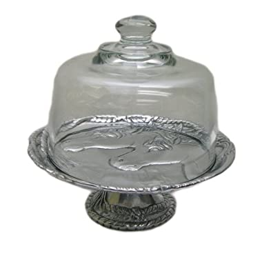 Arthur Court Horse 8-Inch Footed Tray with Glass Dome