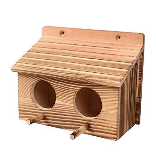 Pajarera de madera, doble habitación, para exterior, terraza de jardín, nido decorativo,...