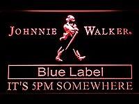 Johnnie Walker Blue Label It's 5pm Somewhere LED看板 ネオンサイン ライト 電飾 広告用標識 W40cm x H30cm レッド