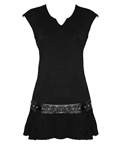Spiral Direct Gótico Rock Alternativa Mini Vestido Top Túnica - Negro, UK 12 (L)