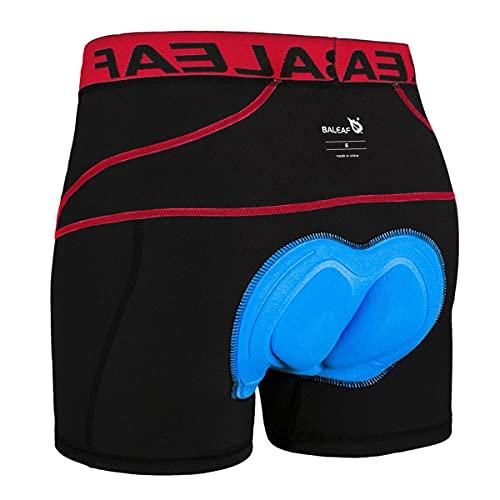 BALEAF Herren Fahrradhose Kurz Gepolstert Atmungsaktive Fahrradunterhose Coolmax 4D Gel Sitzpolster Rot M