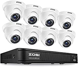 ZOSI 1080P H.265+ Home Security Camera System,5MP Lite 8 Channel Surveillance DVR and 8 x 1080p Weatherproof CCTV Dome Camera Outdoor Indoor with 80ft Night Vision, Remote Access (No Hard Drive)