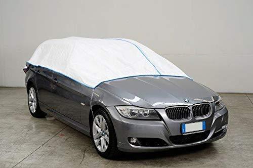 Kley & Partner Auto Abdeckung Halbgarage Plane atmungsaktiv extrem leicht kompatibel mit Opel AGILA ab 2009 in weiß Exclusiv aus Tyvek mit Lagerbeutel