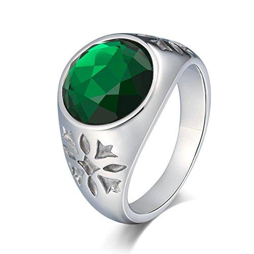KnSam Anillo para hombre, anillo de hombre con grabado de flor de acero inoxidable, anillo de sello para hombre con circonita azul, anillo con grabado gratuito, Acero inoxidable, Circonita cúbica.,