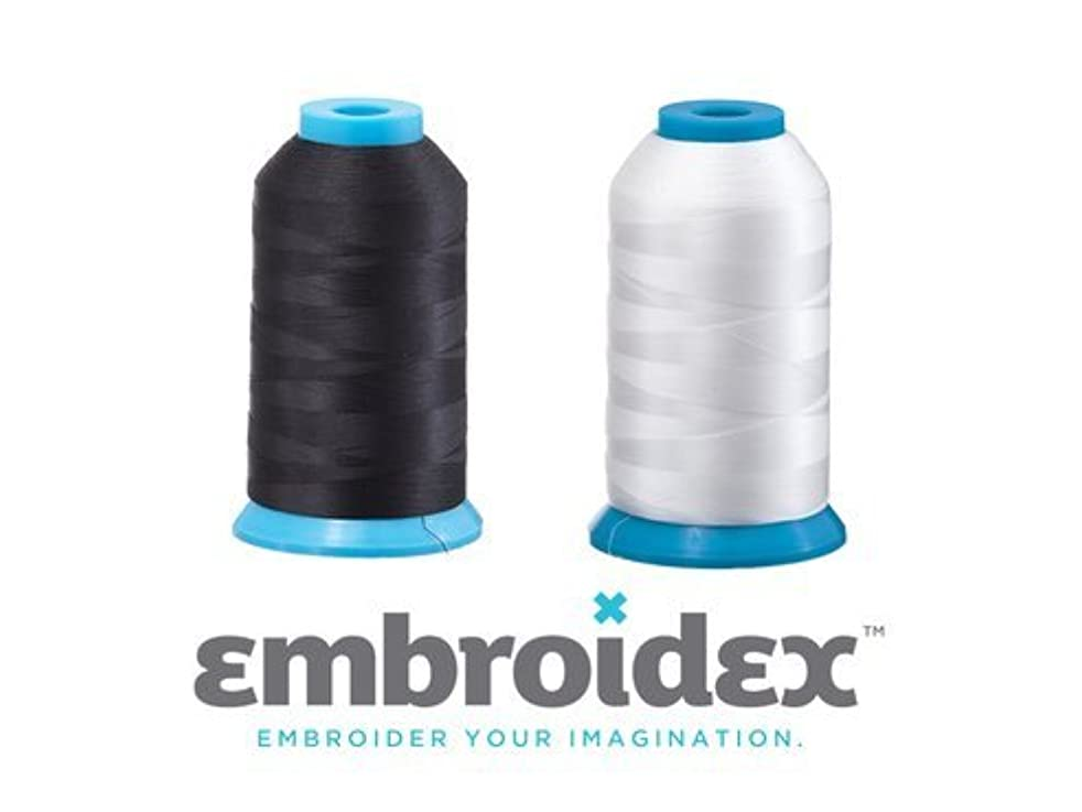 Set of 2 HUGE Bobbin Thread for Sewing And Embroidery Machine 1 Black and 1 White 5500 Yards Each - Polyester - Embroidex