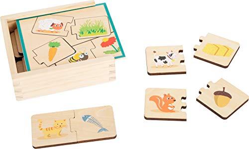 small foot 11731 Lernspiel Holzpuzzle Tiere füttern, Motorik-und Lernspielzeug aus Holz, 3 in 1, ab 3 Jahre Toys