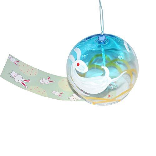 Windspiel Wind Chimes Glockenspiel Japanisches Glas handgefertigt nach Hause Geschenk zum Geburtstag Valentinstag Geschenk zum Hochzeitstag (in Wolken Hase) Einrichtungen