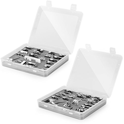 Sewing Machine Presser Feet 42 Pcs with Clear Storage Box for Brother, Babylock, Singer, Janome, Elna, Toyota, New Home, Simplicity, Necchi, Kenmore, and White Low Shank Sewing Machines