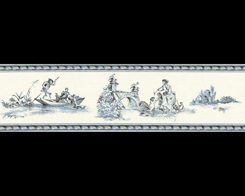 Tapete 8507-13 A.S. Création Tapeten 850713 Borte Château 3 Klassisch blau weiß Landschaft Rokoko Luxus