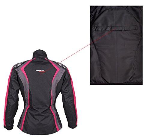 Roleff Racewear Damen Textil Motorradjacke mit Protektoren, Gute Belüftung, Taillierter Schnitt, Schwarz, Pink , Größe XXL - 10