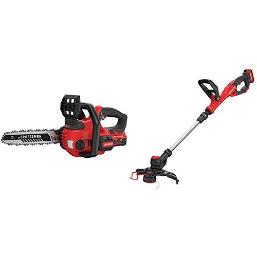 "CRAFTSMAN CMCCS620M1 V20 12"" Cordless Compact Chainsaw with CMCST900D1 V20 Cordless WEEDWACKER String Trimmer/Edger - Automatic Line Advance Feed"