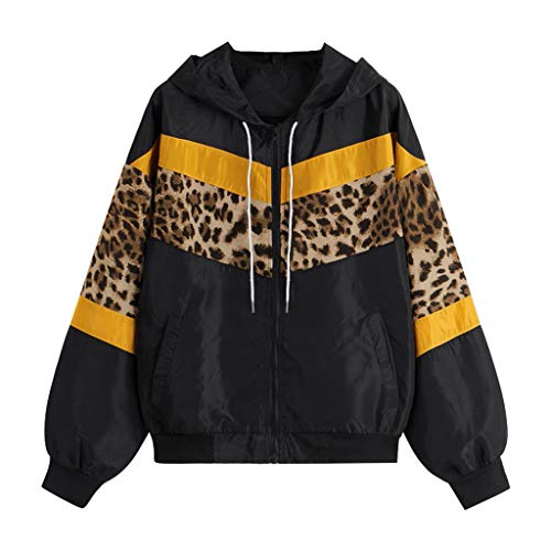 Auifor vrouwen lange mouwen luipaard dunne huid met capuchon en ritssluiting Stitching Outwear jas