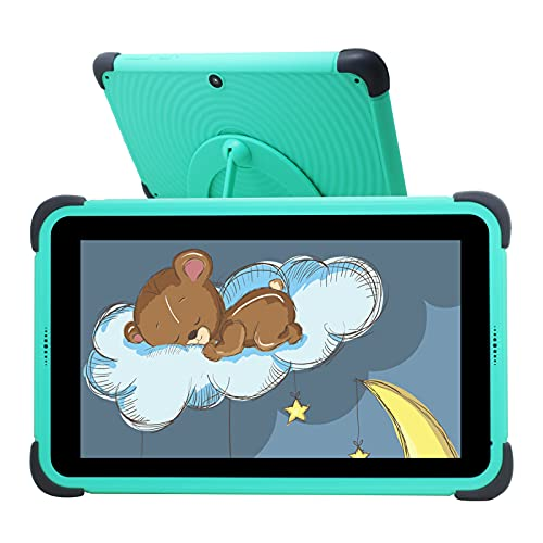 Tablet Niños de 7 Pulgadas, Tablet Niños con ROM de 32GB, IPS HD Display Quad-Core Android 10 WiFi, Tabletas de Aprendizaje con Soporte de Estuche a Prueba de niños, Verde