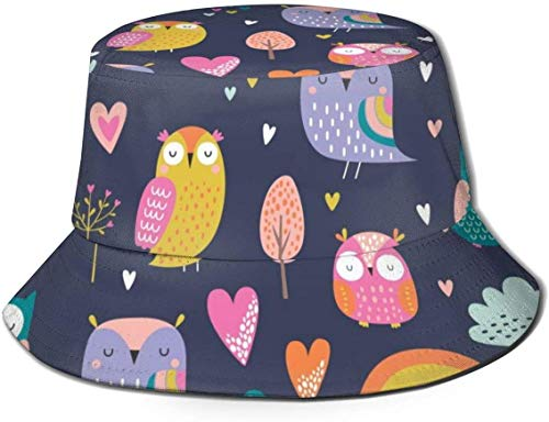 Sombreros de cubo transpirables con parte superior plana Unisex Lindo zorro nocturno en el bosque Sombrero de cubo Sombrero de pescador de verano-Lindo estilo de dibujos animados Búhos-Talla única