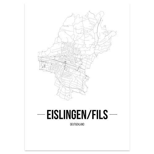JUNIWORDS Stadtposter - Wähle Deine Stadt - Eislingen/Fils - 40 x 60 cm Poster - Schrift B - Weiß