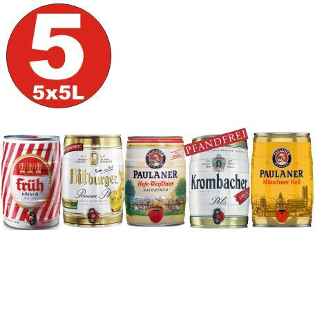 5x5 Liter Fässer Bier No:2- Krombacher, Paulaner Hefe, Münch. hell, Früh Kölsch, Bitburger 4,8-5%