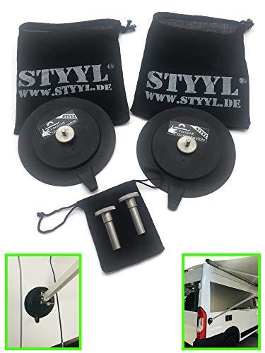 STYYL Markisen Halterung mit Magnet um die Stützfüße an Kastenwagen, Van, Bus, Camper zu befestigen, passend für Thule Fiamma Dometic UVM Wandhalter Markisenhalter magnetisch